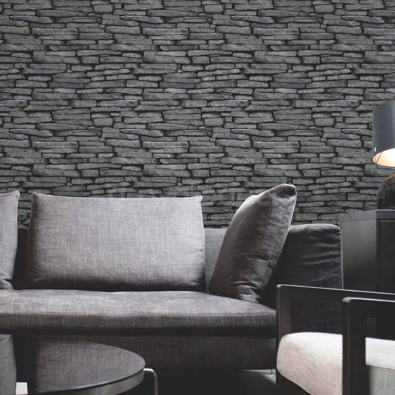 Fine decor slate wallpaper natural grey silver - Papier peint imitation brique leroy merlin ...