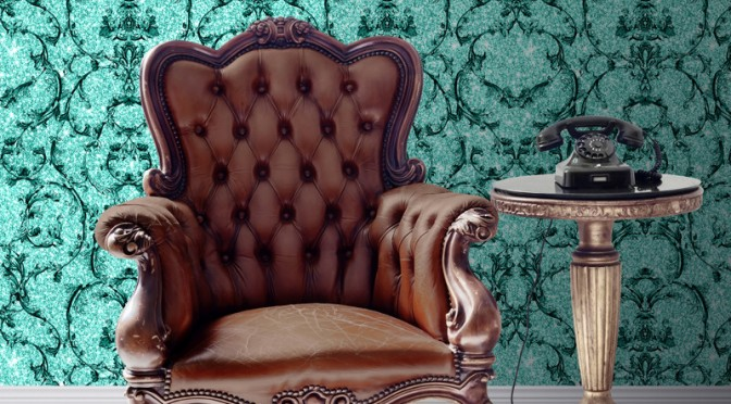 Muriva Baroque Scroll Glitter Wallpaper – Hot Teal