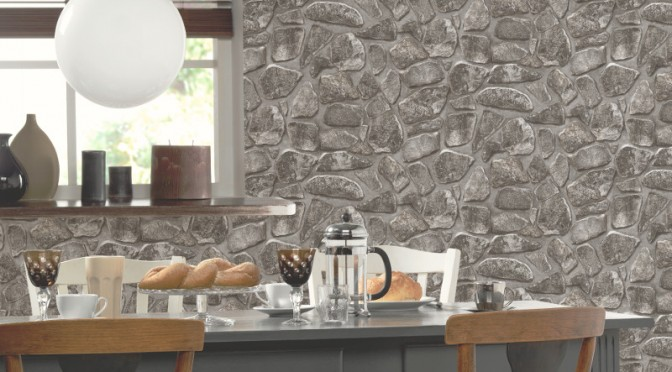 P&S International Stone Effect Wallpaper – Charcoal