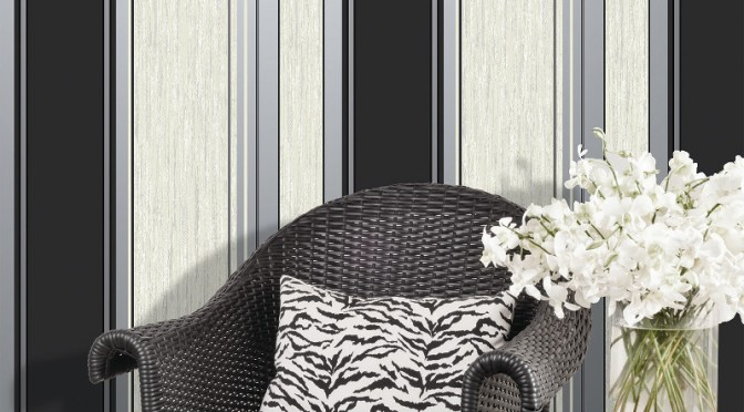 Vymura Synergy Glitter Stripe Wallpaper – Ebony Black and Silver