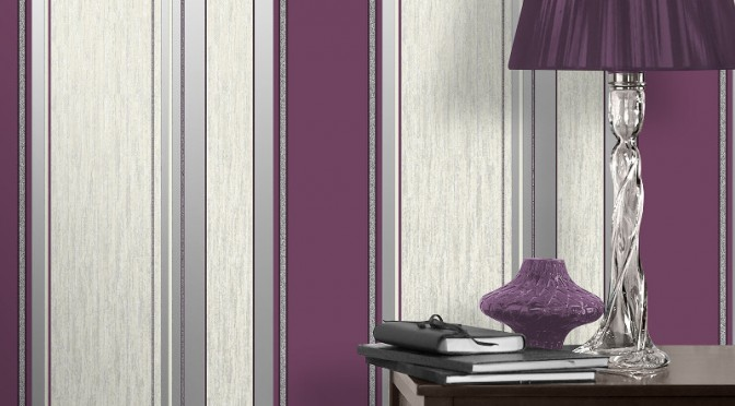 Vymura Synergy Glitter Stripe Wallpaper – Plum, Purple and Silver