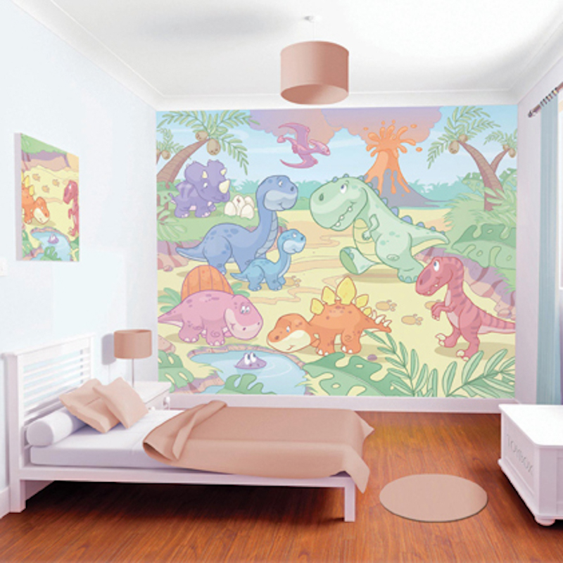 Walltastic baby dino wallpaper mural for Baby mural wallpaper