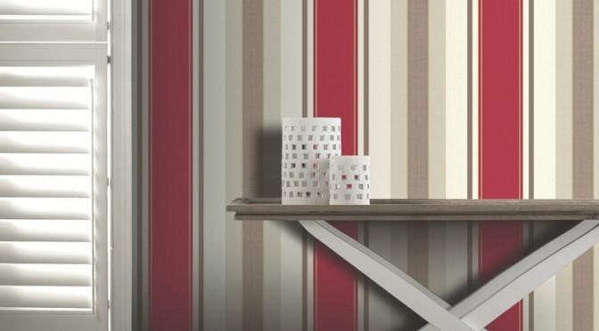 Arthouse dante stripe wallpaper in red for Striped wallpaper living room