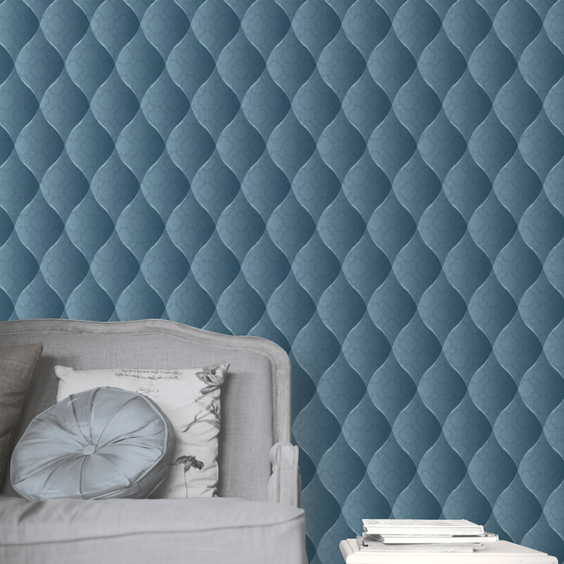 Muriva damask padded effect wallpaper aqua for Padded wall wallpaper