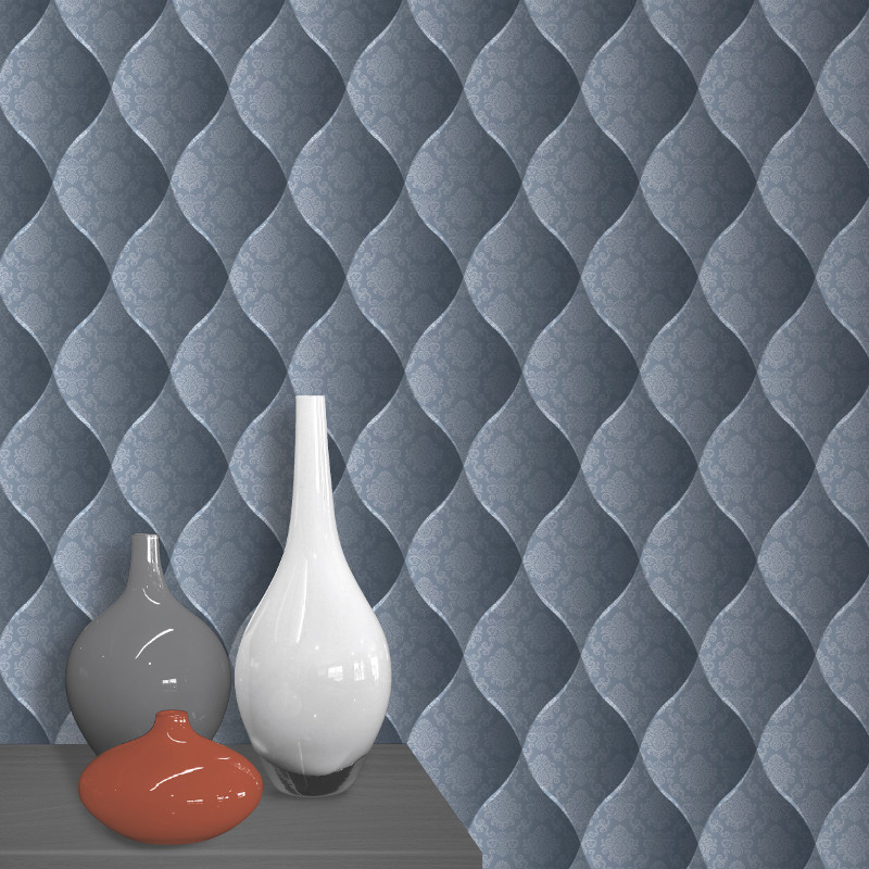 Muriva damask padded effect wallpaper blue for Padded wall wallpaper