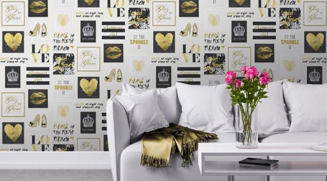 Muriva Glitz and Glam Wallpaper – Gold & Silver