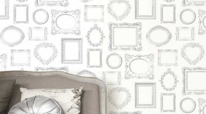 Muriva Metallic Frames Wallpaper – Silver