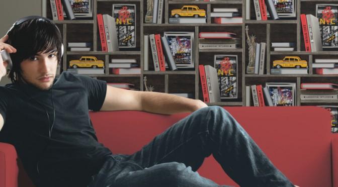 Muriva NYC Bookcase Wallpaper – Multi-Coloured