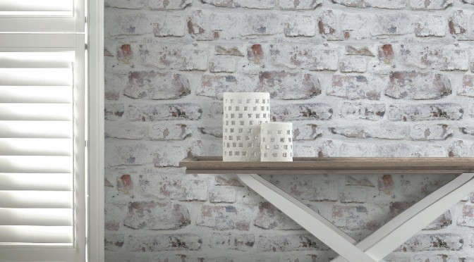 Arthouse Opera White Washed Brick Wallpaper