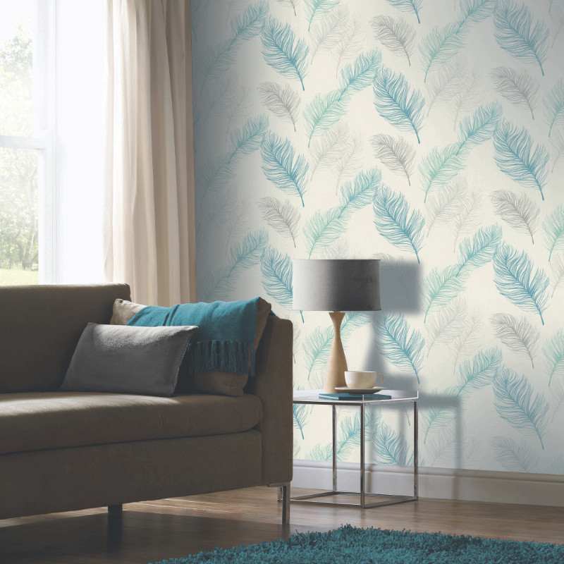Arthouse whisper feather wallpaper teal for Teal wallpaper living room