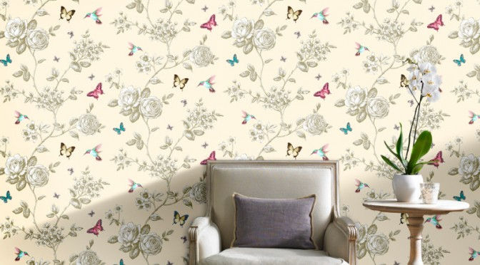Grandeco Rose Garden Bird and Butterfly Wallpaper – Cream