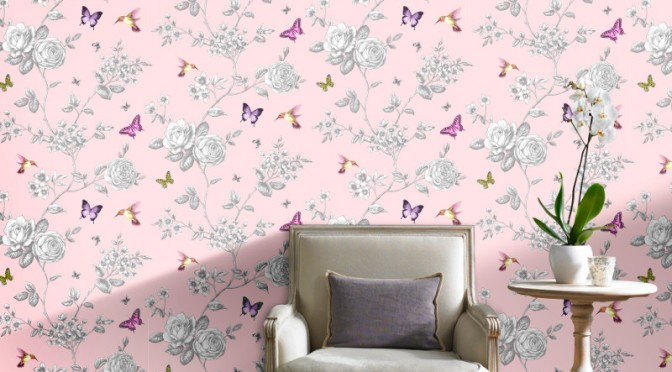 Grandeco Rose Garden Bird and Butterfly Wallpaper – Pink
