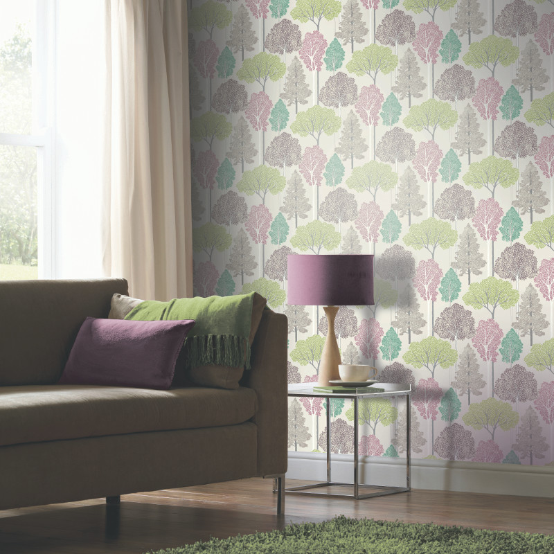 Arthouse Ellwood Glitter Trees Wallpaper Pastel Go