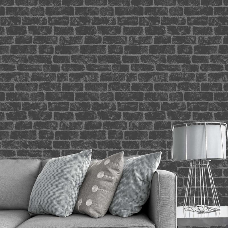Fine decor glitter brick wallpaper black fd40878 go for Black brick wallpaper bedroom