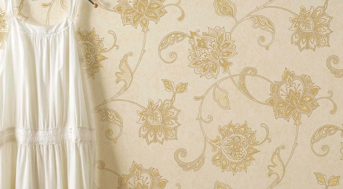 Vymura Vintique Trail Glitter Wallpaper – Gold
