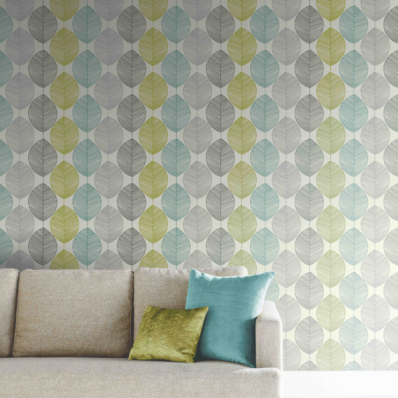 Arthouse retro leaf wallpaper teal and green go decorating - Art house wallpaper uk ...