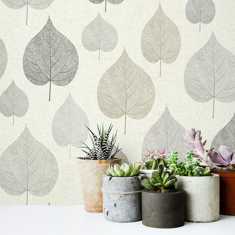 Crown Signature Leaf Wallpaper In Natural Go Decorating