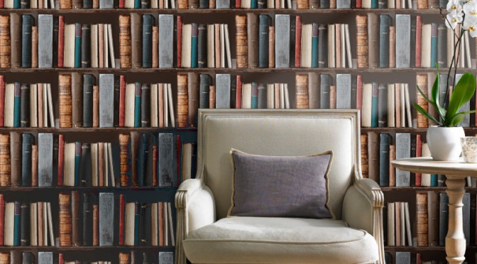 Grandeco Library Book Shelf Wallpaper