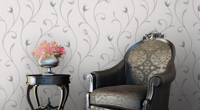 Muriva Serafina Floral Trail Glitter Wallpaper