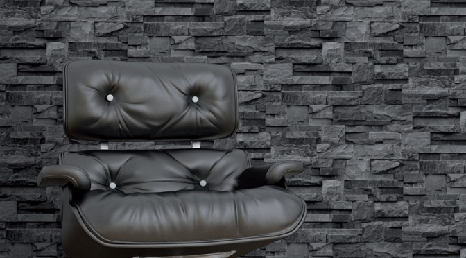 Muriva stone brick effect wallpaper grey go decorating for Grey brick wallpaper living room