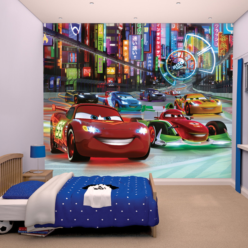 Walltastic disney cars wallpaper mural go decorating for Car wallpaper mural