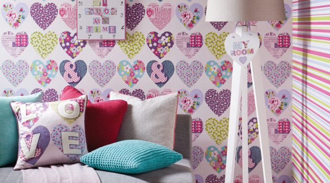 Arthouse Patchworks Hearts and Flower Wallpaper