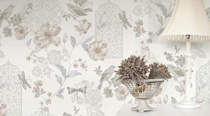 Crown Sweet Cherry Glitter Wallpaper – White