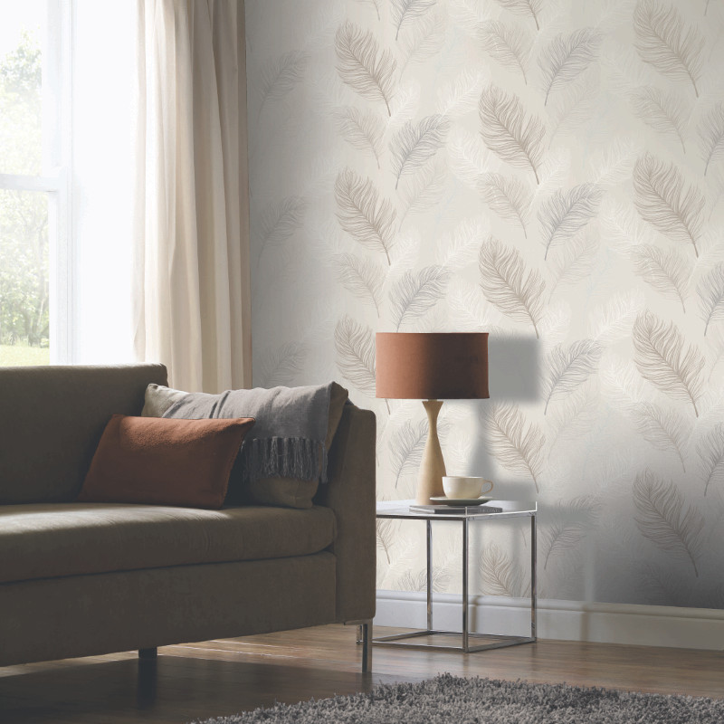 Arthouse whisper feather wallpaper taupe for Taupe wallpaper living room