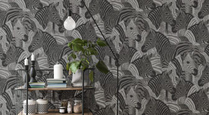 Vymura Zebra Glitter Wallpaper – Onyx Black