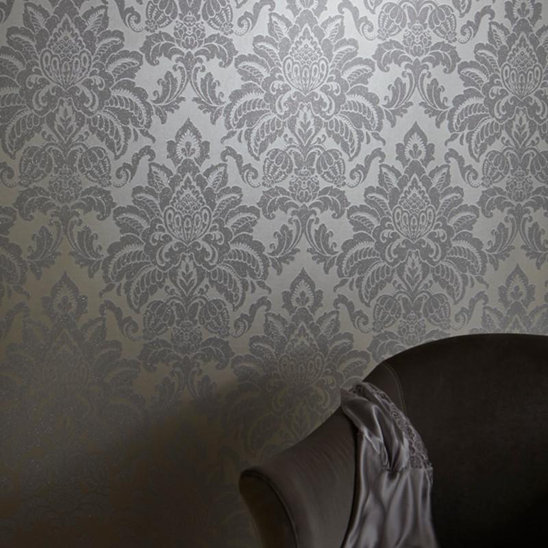 Arthouse glisten damask glitter wallpaper platinum - Art house wallpaper uk ...