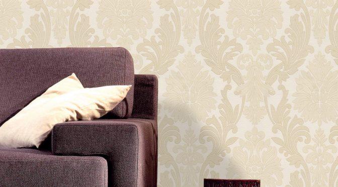 Belgravia Decor Lazio Damask Glitter Wallpaper – Cream