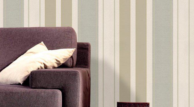 Belgravia Decor Lazio Stripe Glitter Wallpaper – Champagne