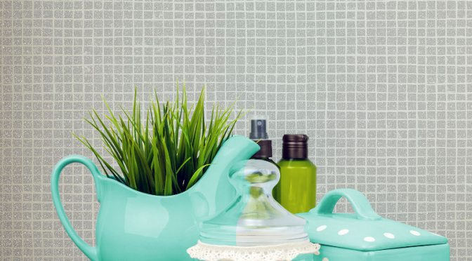 Crown Mosaic Glitter Tile Wallpaper – Grey