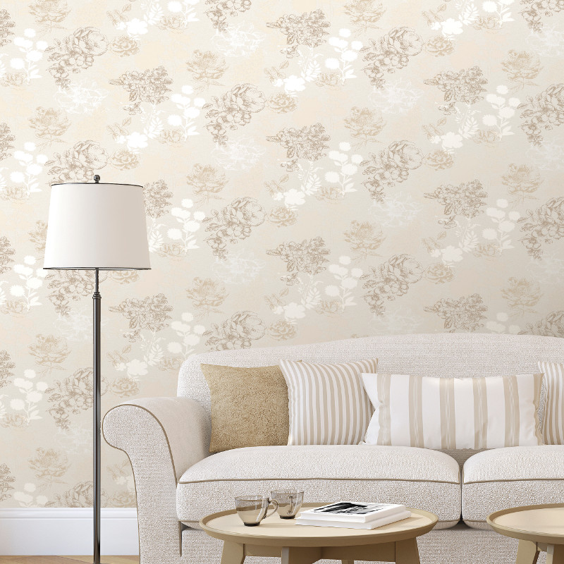 Muriva mila floral wallpaper in cream for Wallpaper for walls rates