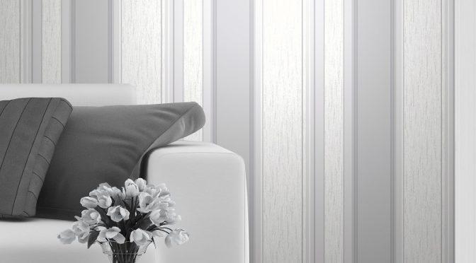 Vymura Synergy Glitter Stripe Wallpaper – Dove Grey