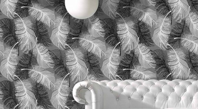 Coloroll Feathers Glitter Wallpaper in Monochrome