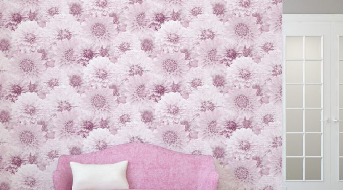 The Muriva Chrysanth Wallpaper Blossoms in Pink
