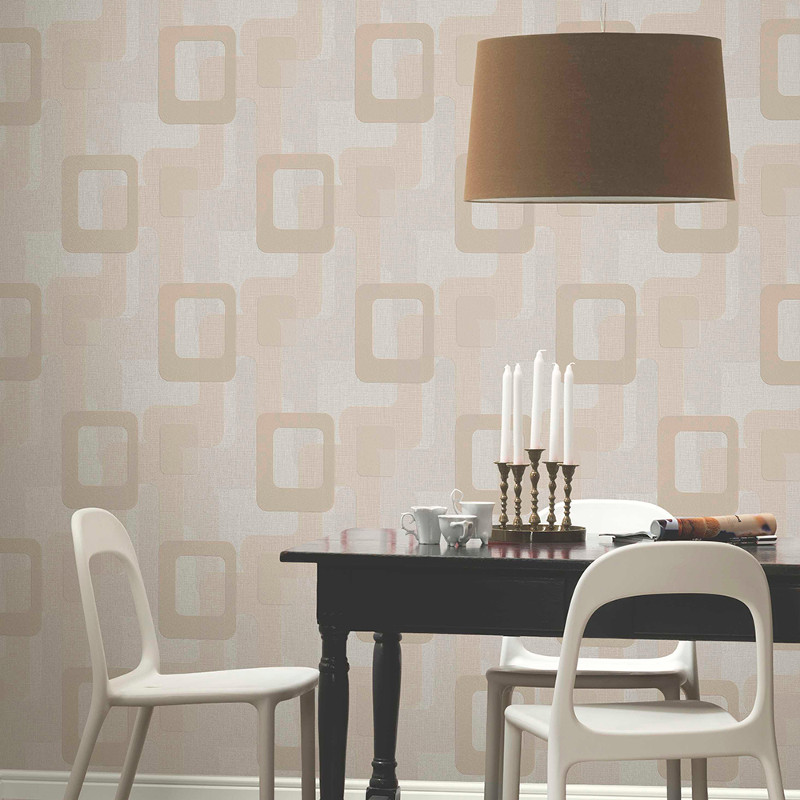 Novara retro wallpaper in beige by p s international for International decor uk