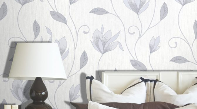 Vymura Synergy Glitter Floral Wallpaper – Dove Grey and Silver