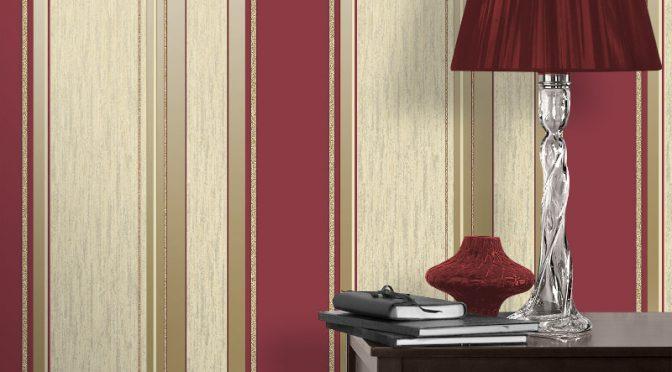 Vymura Synergy Glitter Stripe Wallpaper – Red and Gold