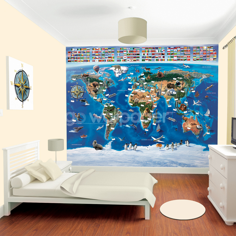 Walltastic Graffiti Wallpaper Mural: Walltastic Map Of The World Wallpaper Mural