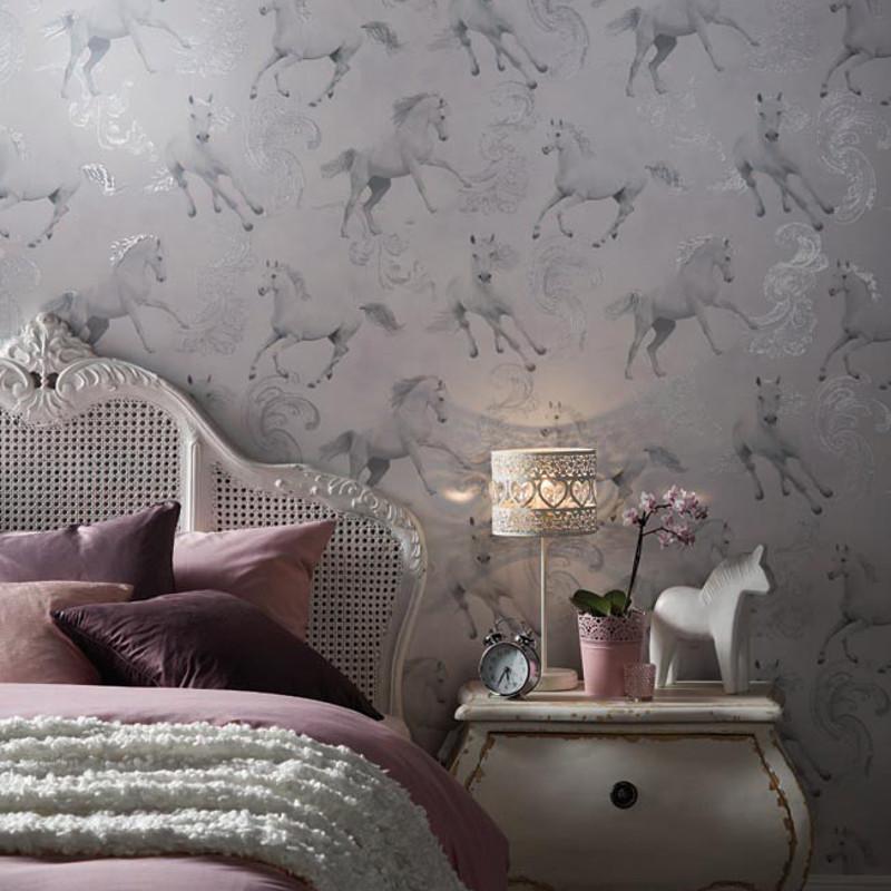 Arthouse camarillo horse glitter wallpaper in silver - Art house wallpaper uk ...