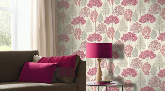 Arthouse Ellwood Glitter Trees Wallpaper in Cranberry