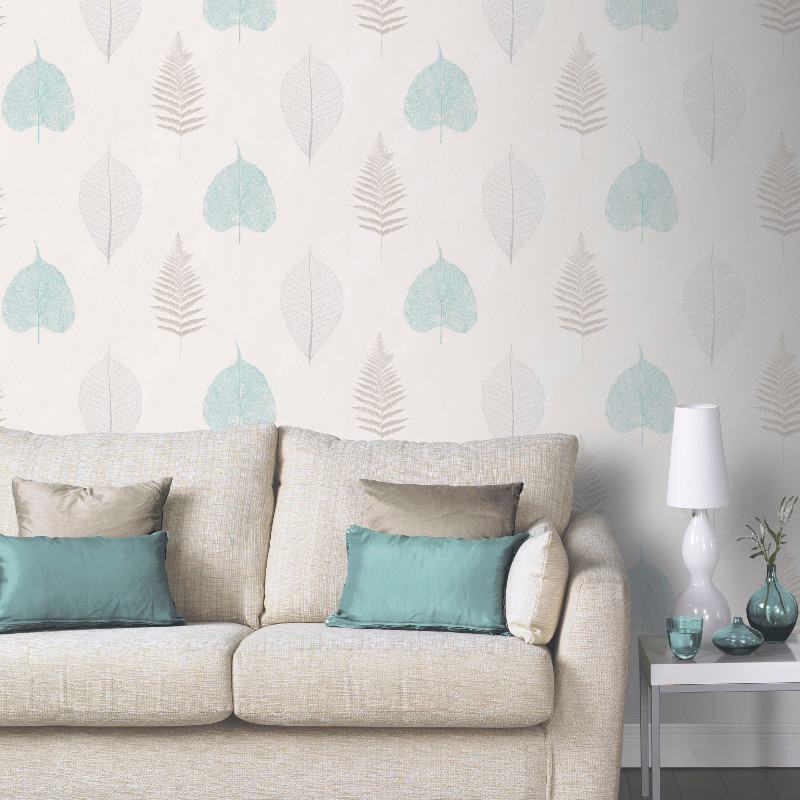 Arthouse opera thea leaf and tree wallpaper in teal for Teal wallpaper living room