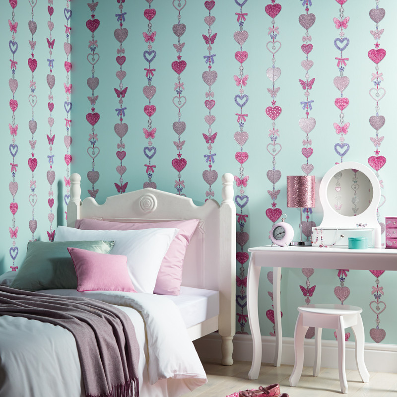 Arthouse Tiffany Stripe Glitter Wallpaper In Duck Egg