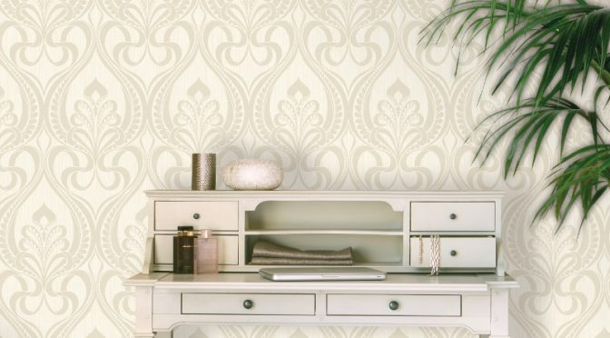 Grandeco Art Nouveau Damask Glitter Wallpaper in Gold