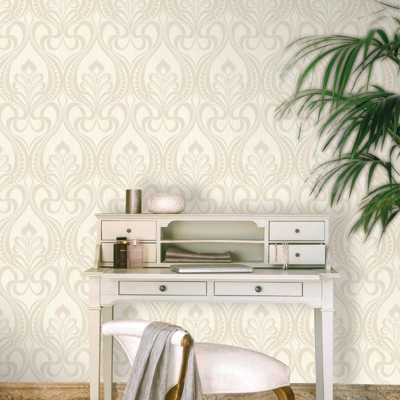 Grandeco art nouveau damask glitter wallpaper in gold for Art nouveau wallpaper uk