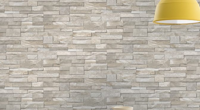 Grandeco Stone Brick Effect Wallpaper in Sand Stone