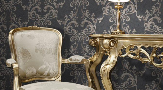 Muriva Damask Wallpaper Black and Cream with Juliette