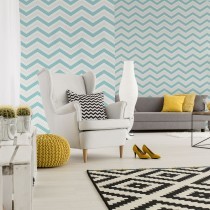 Coloroll Chevron Geometric Wave Teal Glitter Wallpaper